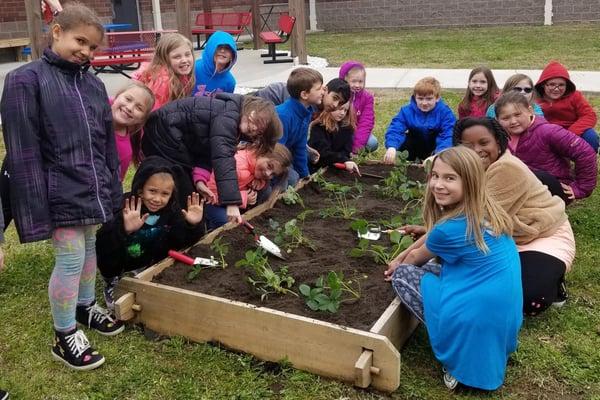 school garden clean hands
