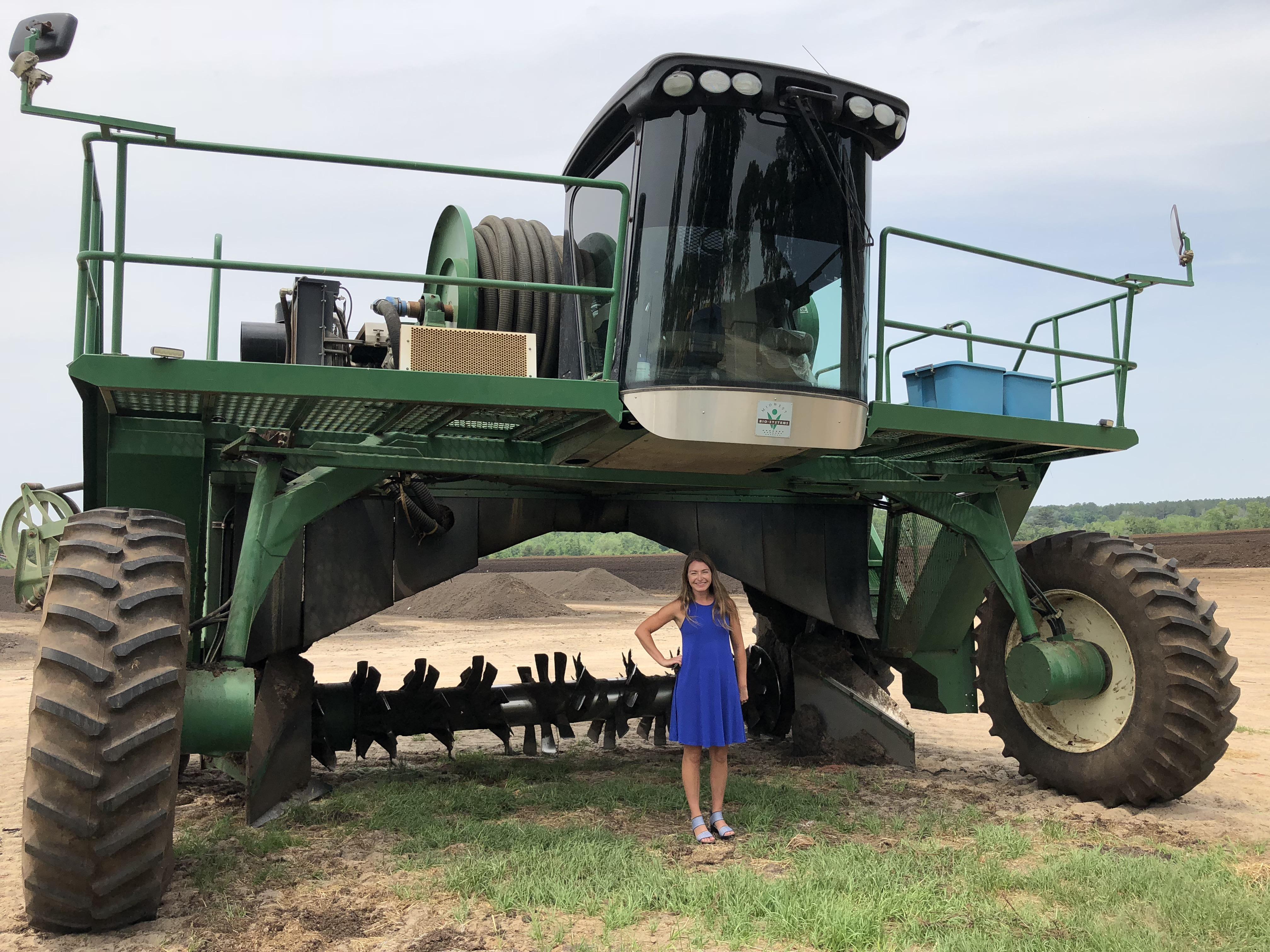 Brie Arthur under compost turner