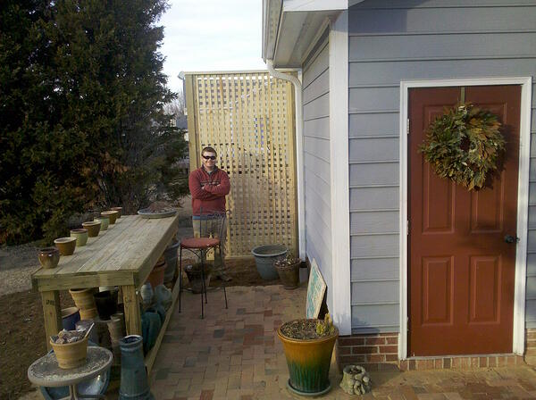 Brie's husband on the newly finished brick patio copy