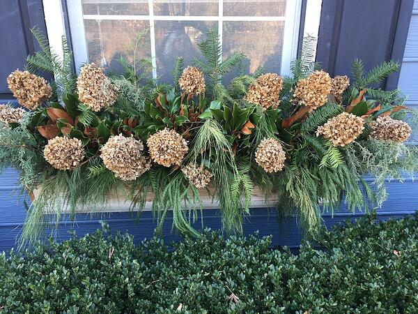 conifer pine cone and pine cone window box holiday decoration 2