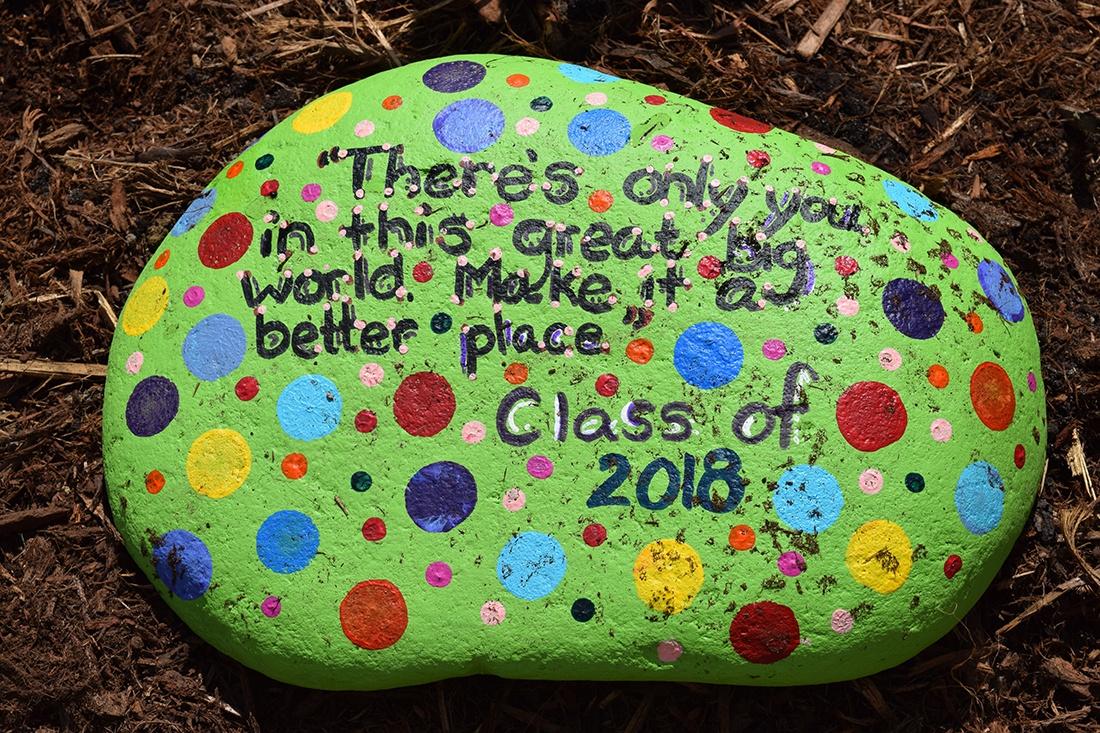 class painted rock for school garden