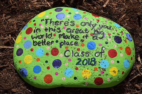 class painted rock for school garden