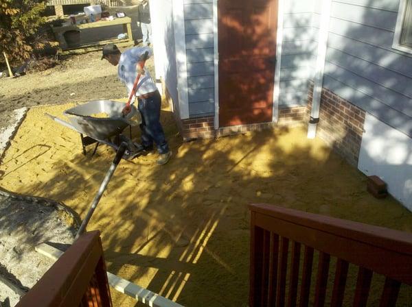 landscape crew mid-patio-construction 2011