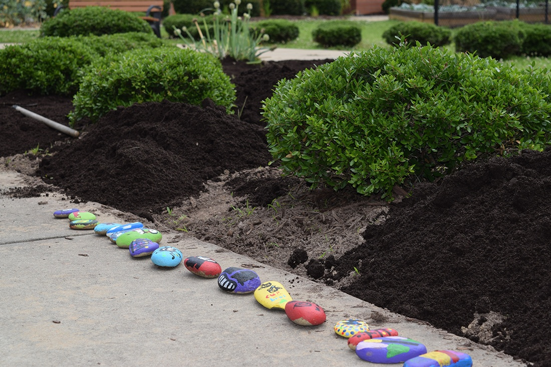 soil3 prepped garden and painted stones