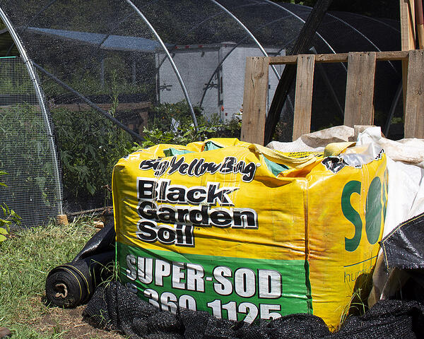 opened compost bag for storage